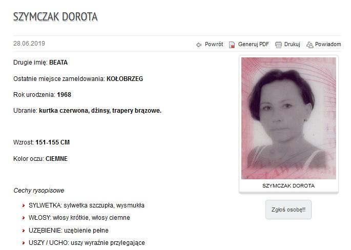Dorota Szymczak Kołobrzeg zaginieni