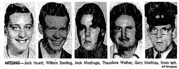 Yuba+city+five+disappearances+1978+-+Jack+Huett,+William+Sterling,+Jack+Madruga,+Theodore+Weiher,+Gary+Mathias